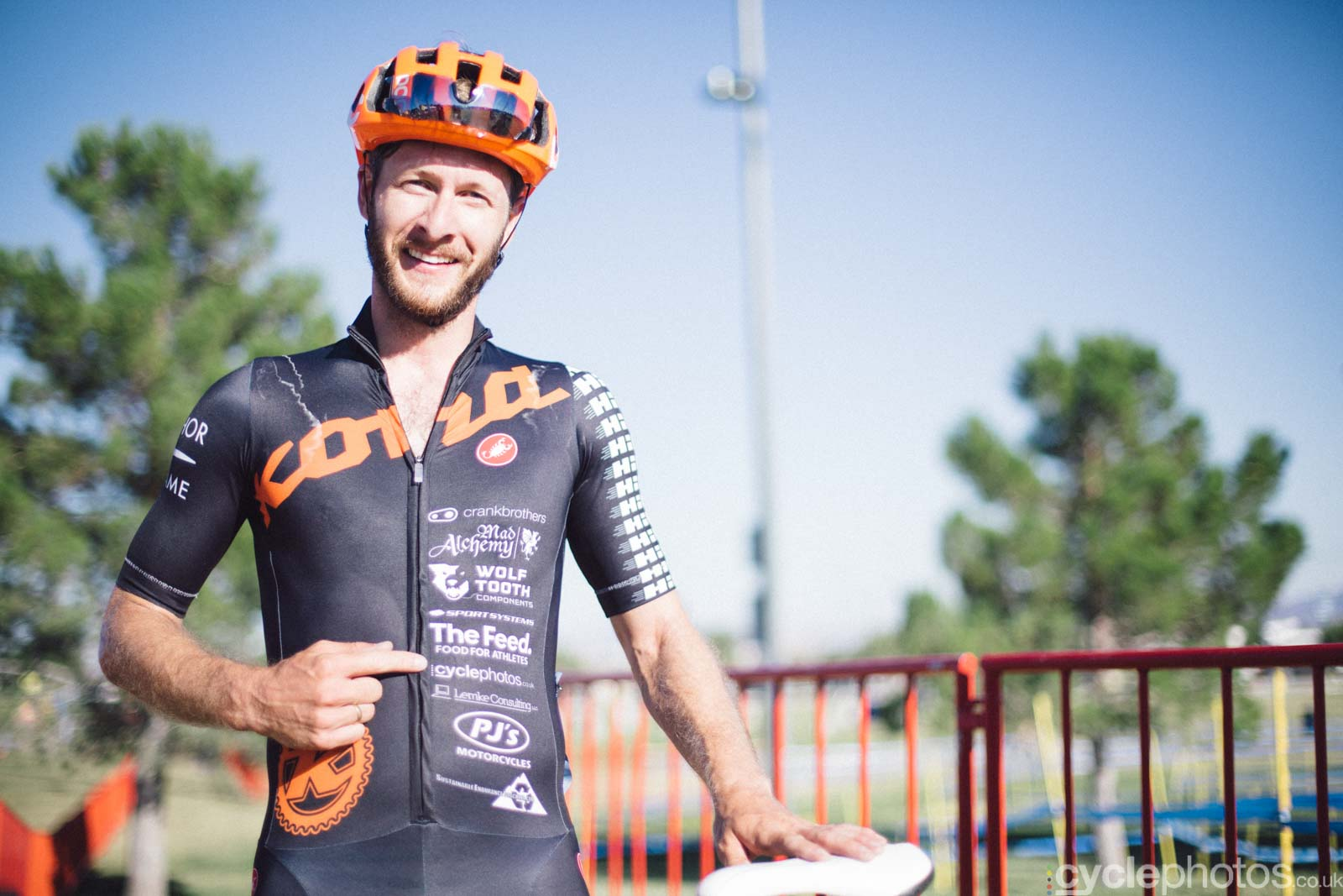 Nick Lemke, the editor of the 14/15 cyclocross album. Note the cyclephotos logo on his jersey, I�m one of his sponsors, which manifests mainly in supportive words, but they clearly have meant the edge as Nick finished on the podium of the USA Cycling amateur race.