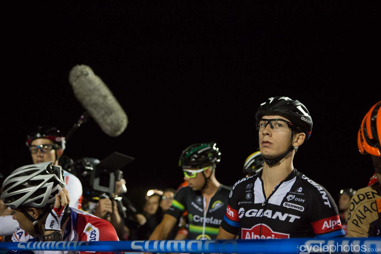 Lars van der Haar at the start of Crossvegas, the first round of the 2015 UCI Cyclocross World race in Las Vegas, USA.