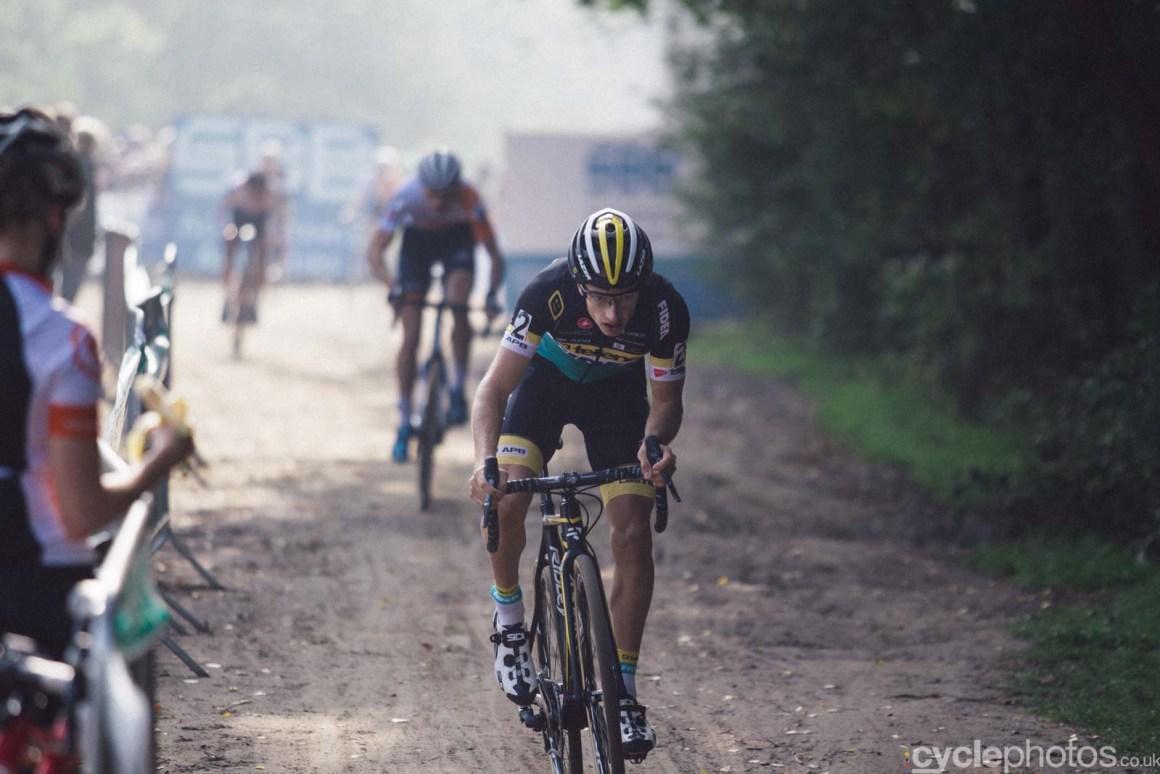 Quinten Hermans in the first lap of the men U23 Superprestige race in Gieten, The Netherlands. All rights reserved. �Balint Hamvas / Cyclephotos