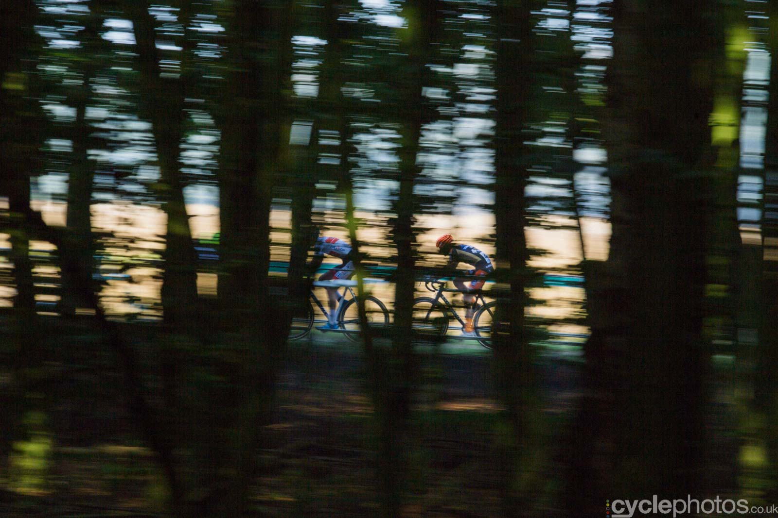 Riders in the dark during the U23 men's Superprestige race in Gieten, The Netherlands. All rights reserved. �Balint Hamvas / Cyclephotos