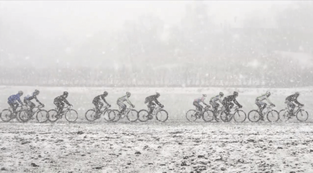 Riders battling the elements at Milan San Remo
