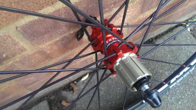 Anodised red hubs can be matched to spokes of your colour choice