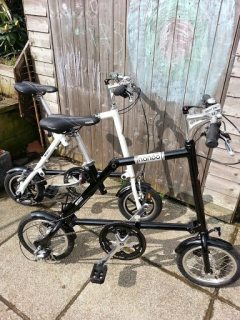 """The black Nanoo in the foreground is a 14"""" model with cable operated disc brakes"""