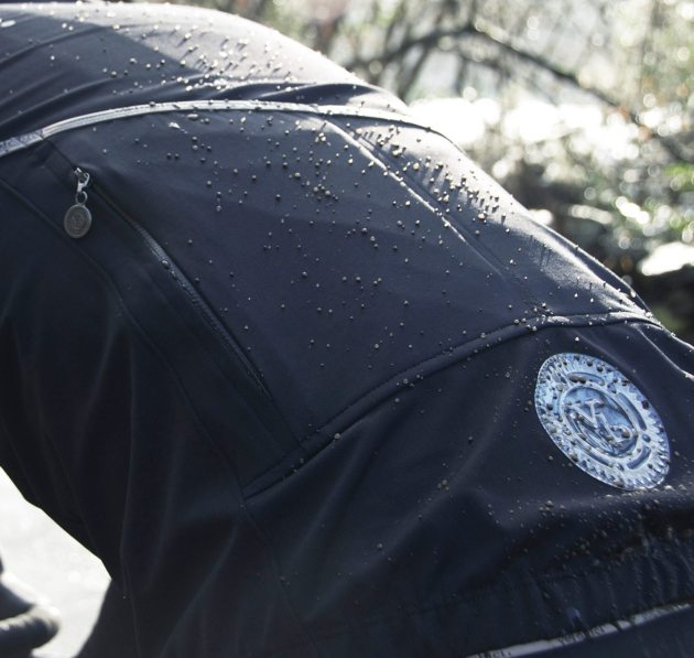 DWR (durable water repellent) coating that helps precipitation bead up and roll off the garment.
