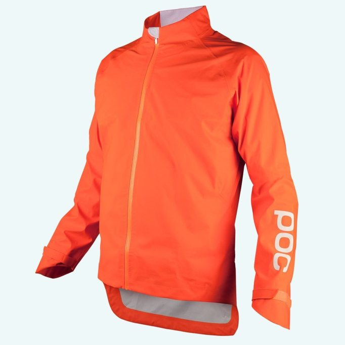 POC AVIP Rain Jacket in Zinc Orange, with reflective details will get you noticed as the days get shorter