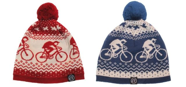 The Alpine Bobble Hat comes in red or blue and is made from 100% merino wool