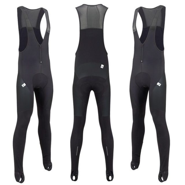 The Morvelo Stealth Stormshield bib tights comes in goes with everything black. Photographs ©Morvelo