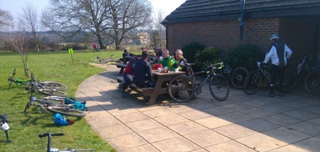 After a chilly, damp start, the South Downs treated us to blue skies and warm weather; just right for post ride refuelling