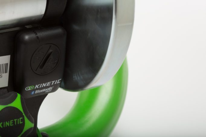 The Kinetic Road Machine Smart connects to your device via a Bluetooth sensor