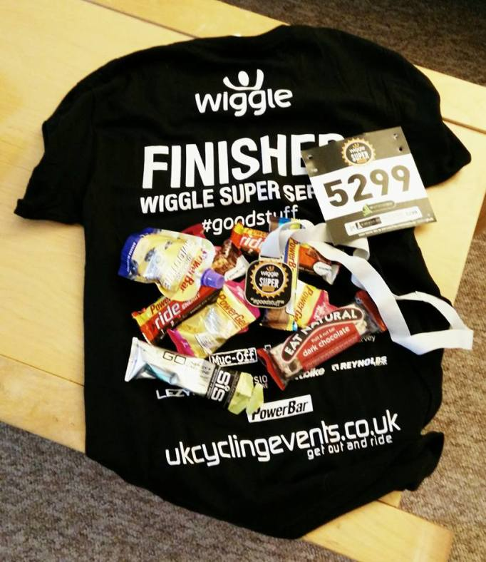 Mike's haul of goodys from the Wiggle Super Series Ups and Downs event