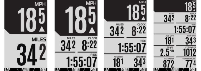 The Wahoo ELEMNT allows you to zoom in and out as you ride, displaying more or less data as you need