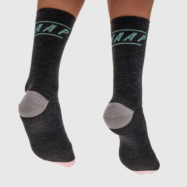 The Type socks come in sombre charcoal, but the pink toes add a little cheer