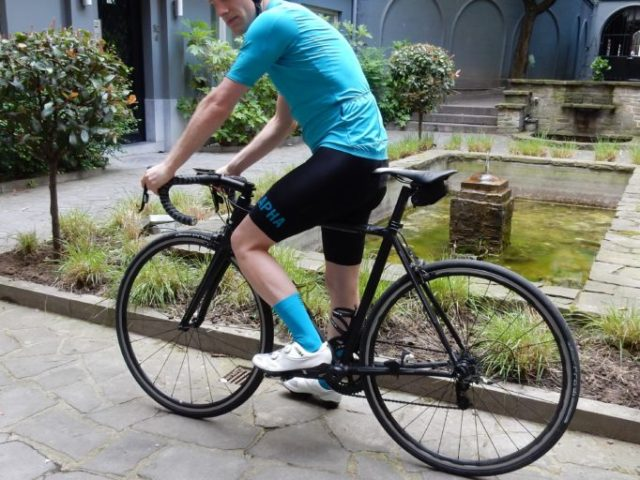 The Rapha Pro Team II jersey and bib shorts get ready for some testing