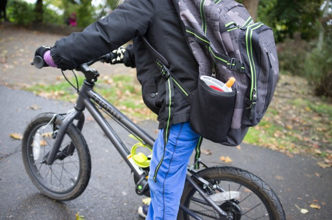 Ready for the school run with the Solos Grid back pack and Otto lock