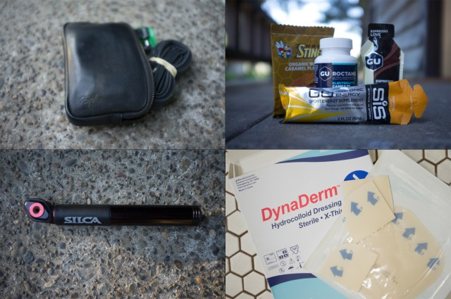 four images combined into one showing dynaderm, a silca pocket impero bike pump, cycling nutrition gear, and a rapha essentials case with flat repair.