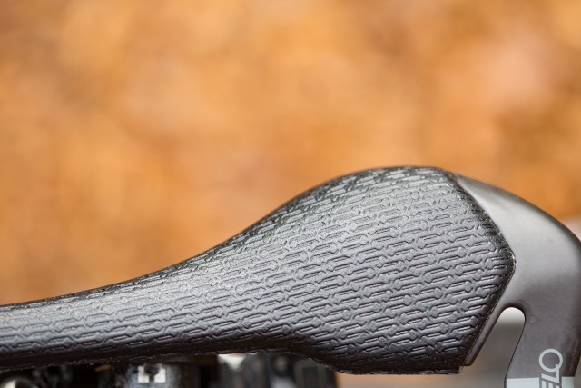 top down view of the Velo Angel Glide bike saddle showing the textured microfiber cover.