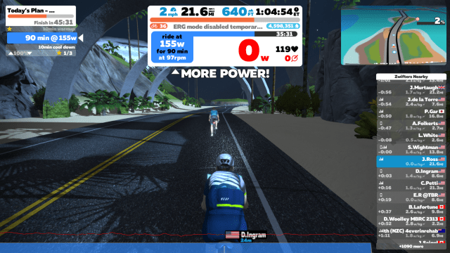 A screenshot of a night scene in Zwift on the Lenova Thinkpad X1 Extreme.