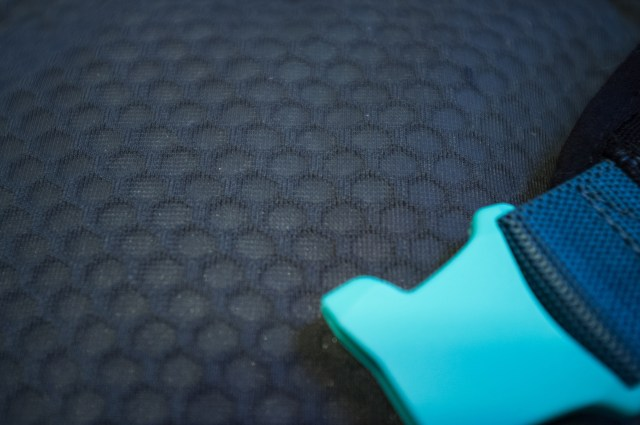detail view of the back panel of the Dakine Hot Laps Stealth Waist Pack.