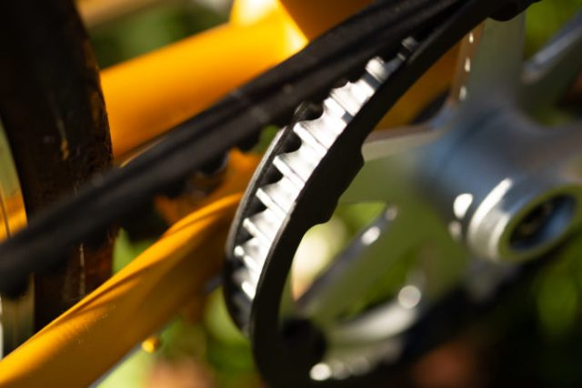 detail of the front crank with Gates carbon belt drive on the brilliant bikes Carmen