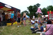 The stage and the other building on site have been build using recycled materials
