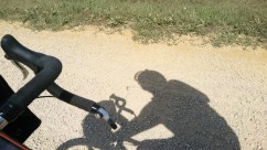 Sometimes, I try some shadow pictures, especially on long gravel roads.