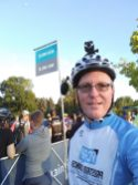 """This was a typical """"before race"""" shot. It still feels odd to see myself in a cancer jersey, but after spending a 100 miles in that shirt, I'm getting used to it. I even like the way it looks."""