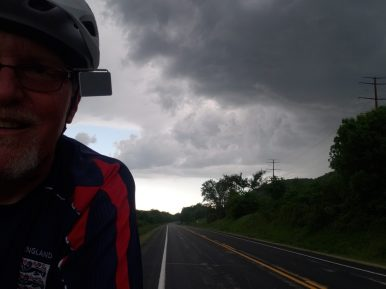 The tail-wind was so strong that it was easy taking a selfie, as long as my phone didn't attract lightning.
