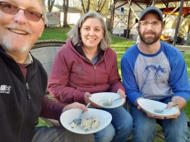 Me, Brook, and Deniss enjoying ice cream with maple syrup they made.