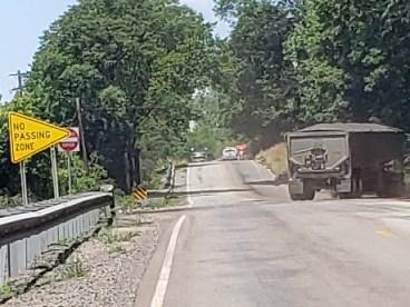 Semi-trucks turning around