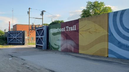 The large wall shows the trail I was on, near St. Louis. The large gate is a flood door, which closes when the River rises.