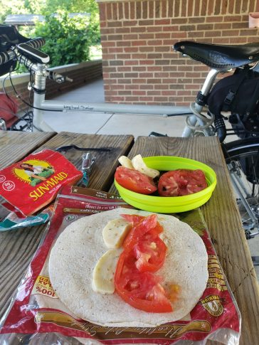 A meal before cycling, using the last tomato i bought days before.