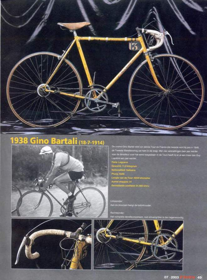 Gino Bartali's Tour de France 1938 winner bike
