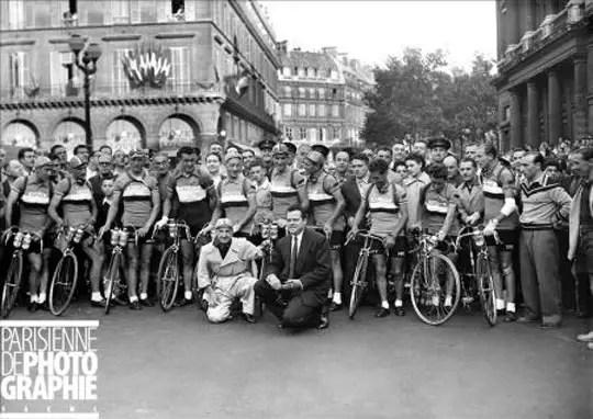 Orson Welles at Tour de France start, 1950