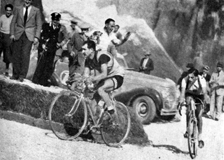Fausto Coppi and Gino Bartali at Giro d'Italia 1940 stage 17