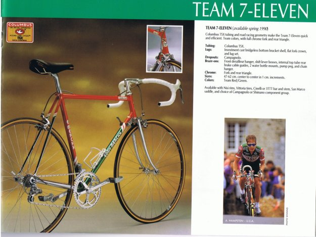 From the 1990 catalog of Eddy Merckx bikes, 7-Eleven team bike
