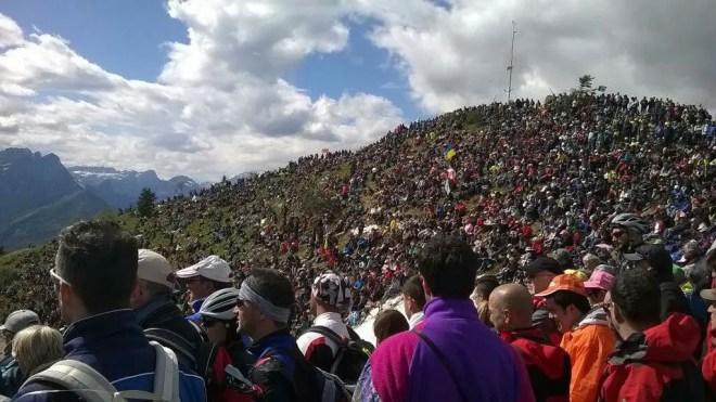 Spectators atop Monte Zoncolan