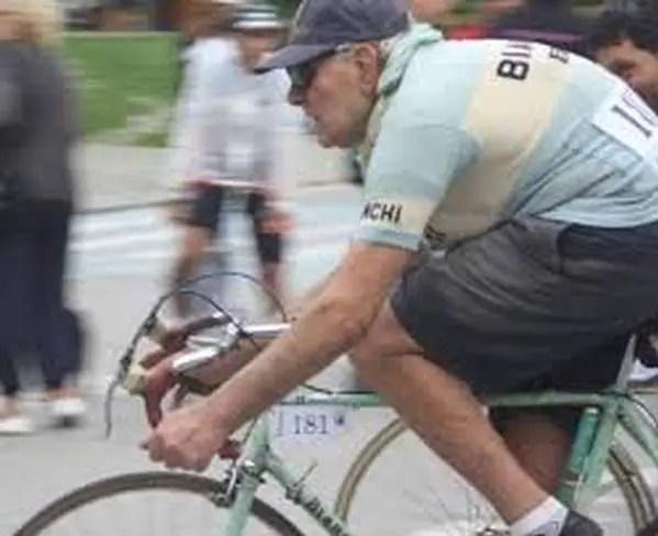 Valeriano Falsini riding his Bianchi