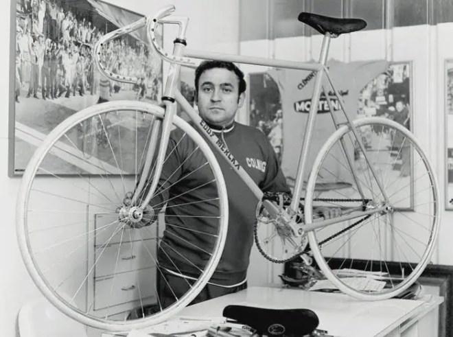Ernesto Colnago with Eddy Mercx's Hour Record bike