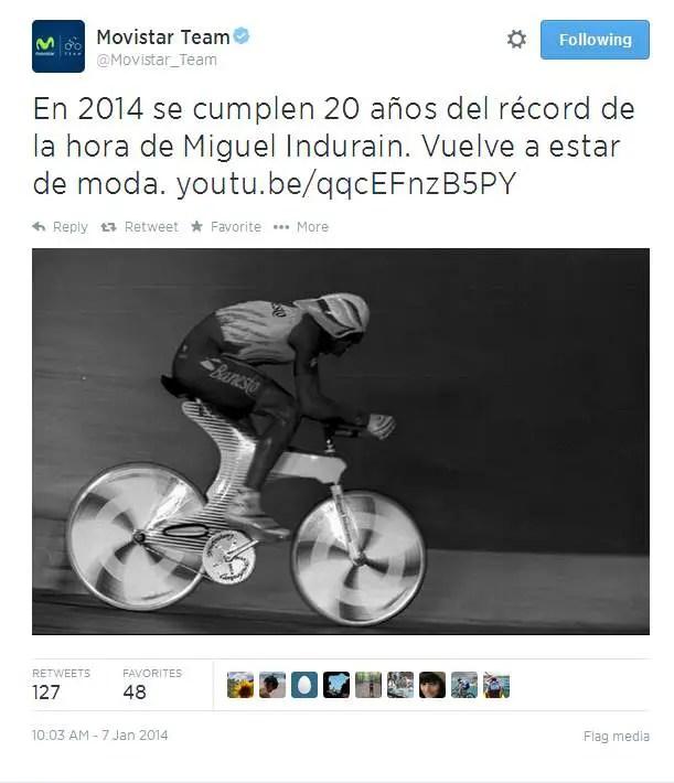 Movistar tweet about Miguel Indurain's Hour Record
