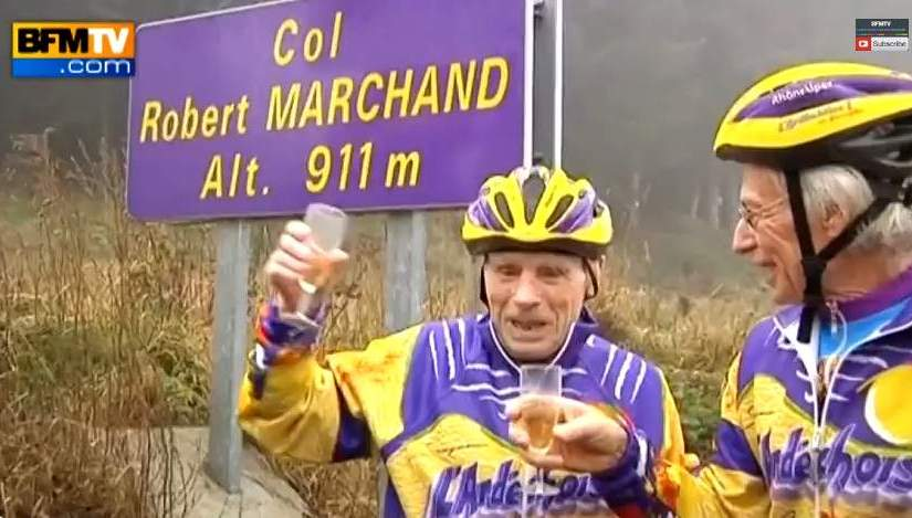Robert Marchand celebrates his 103rd birthday by climbing the col named after him