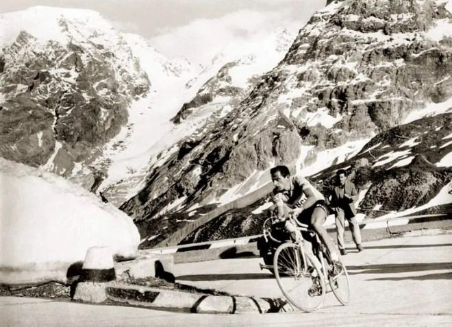 Fausto Coppi climbing Stelvio, Giro d'Italia 1953