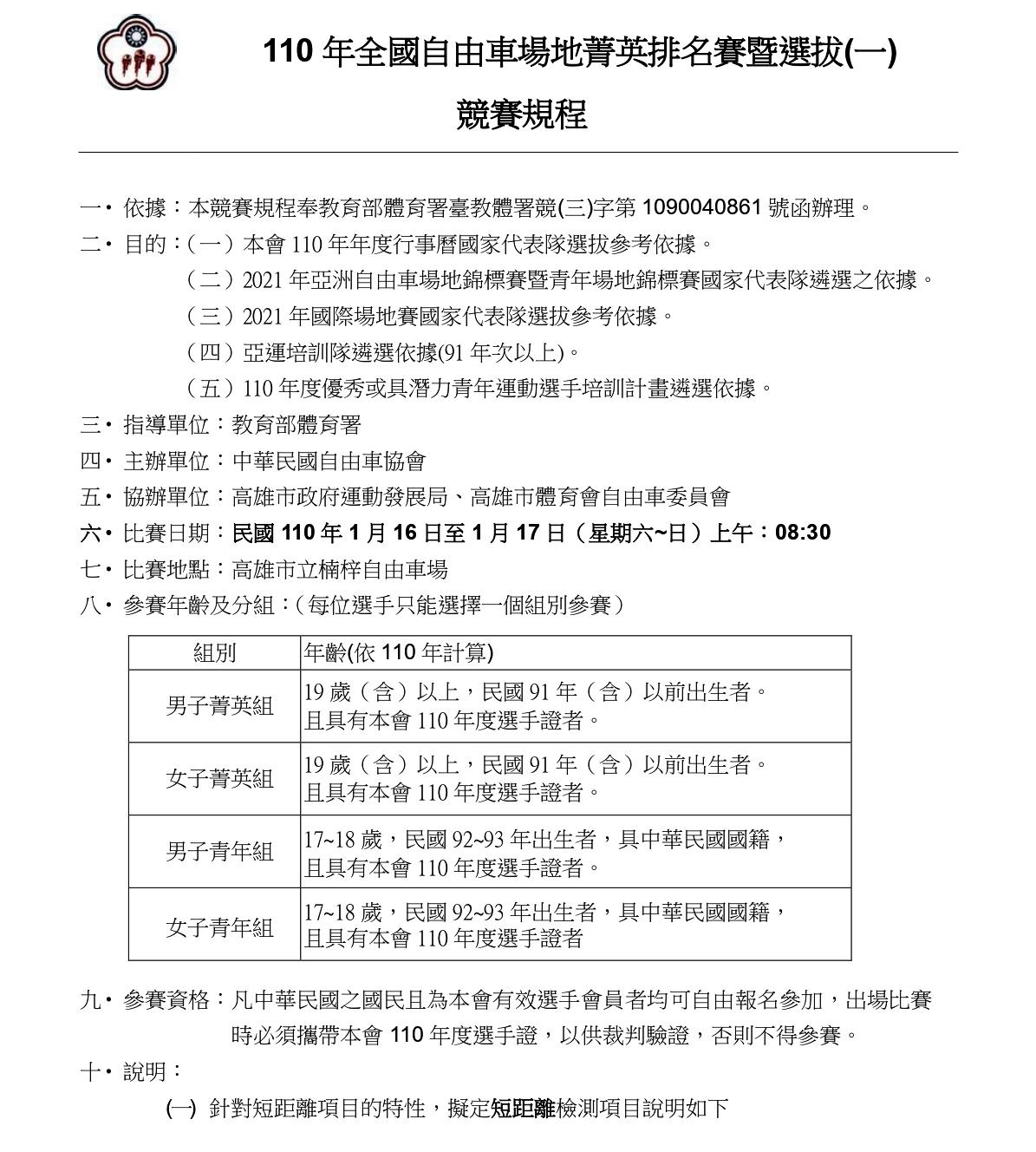 110年全國自由車場地菁英排名賽一競賽規程_page-0001