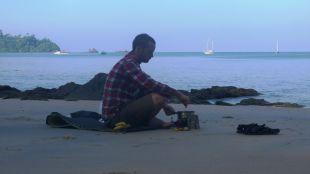 Bananna porridge on the beach for breakfast