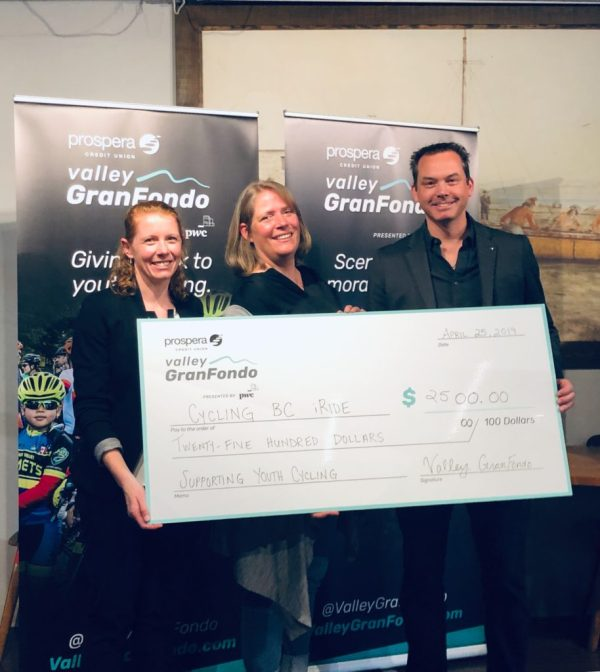 Prospera Valley GranFondo cheque presentation to Cycling BC