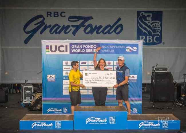 Cheque presentation to Cycling BC at RBC GranFondo Whistler 2019