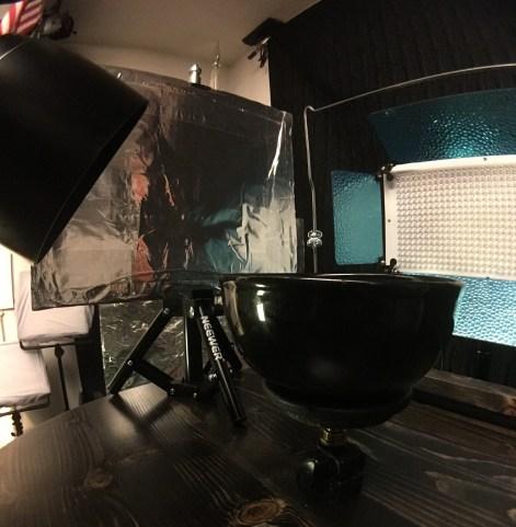 Mini tripod and small reflector--bolw on lift