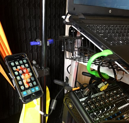 phone, support arm, and basket