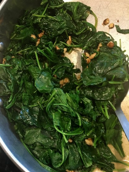 Kale, spinach, & black walnuts [for color, plus it si healthy]
