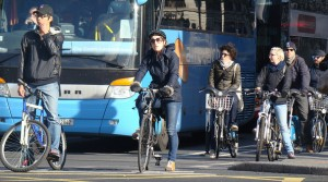 Cycling commuters in the morning rush hour on O'Connell Street  (file picture)