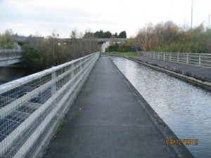 The current view of the M50 crossing (Image: Royal Canal Feasibility Report )